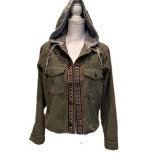 Free People Military Jacket Shirt Hooded Cropped